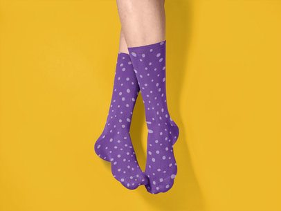 Crossed Man Legs Wearing Socks Mockup While Against a Solid Background a15613