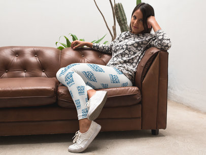 Mockup of a Gorgeous Girl Wearing Leggings While on a Leather Sofa a15705