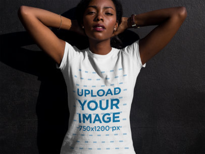 Young Black Girl Looking to the Camera While Wearing a Tshirt Mockup a16070