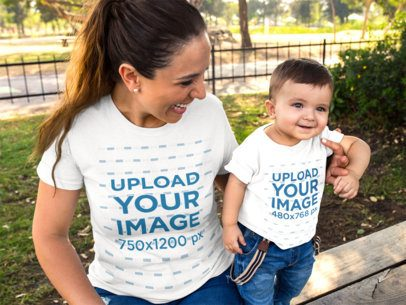 Mockup of a Baby Boy and His Mom Wearing T-Shirts While at the Park a16085