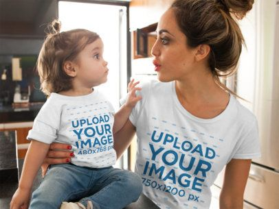 T-Shirt Mockup of a a Woman and Her Baby Girl Making Faces at Each Other a16093