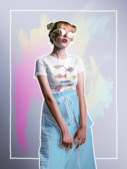 Blonde Girl Wearing a Fashion Round Neck T-Shirt Mockup and Yellow Sunglasses a16184