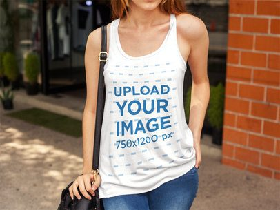 Cropped Face Girl Wearing a Bella Canvas Tank Top Mockup While at the Mall a16107