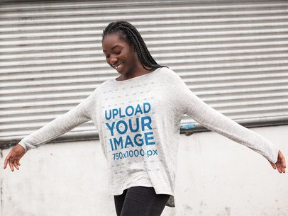 Happy Black Girl with Dreadlocks Wearing a Bella Flowie Long Sleeve Off Shoulder Tee Template While Having Fun Outdoors a16210