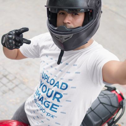 Selfie of a Motorcyclist Wearing a Round Neck Tee Mockup a16219