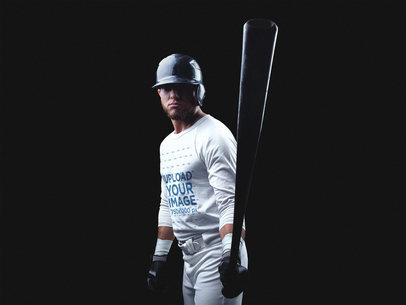 Baseball Uniform Designer - Front Shot of a Batter in Dark Room a15992