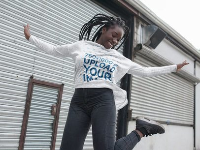 Jumping Girl with Dreadlocks Wearing a Heather Long Sleeve Tee Mockup Outdoors a16211