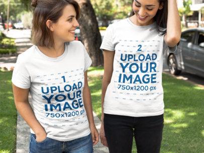 Girls Walking Outdoors While Wearing T-Shirts Mockup a16253