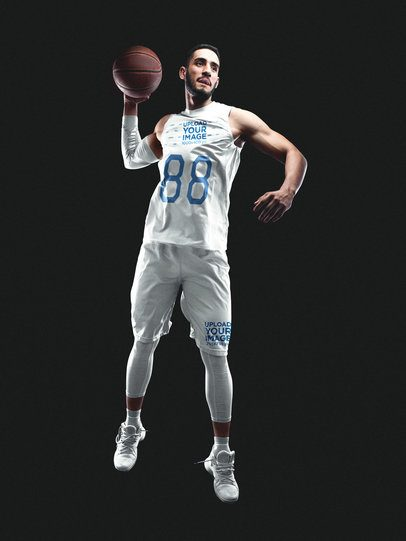 Basketball Jersey Maker - Jumping Man with Basketball a16353