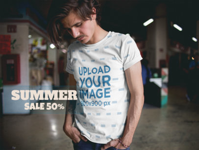Facebook Ad - Dude Looking Down Wearing a Sublimated T-Shirt a15371