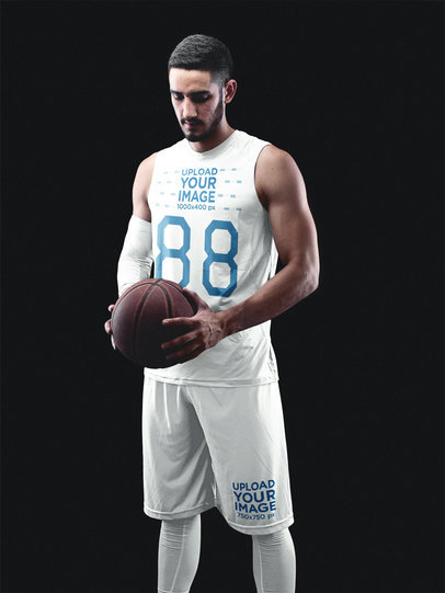 Basketball Jersey Maker - Muscular Man Looking Down to the Ball a16357