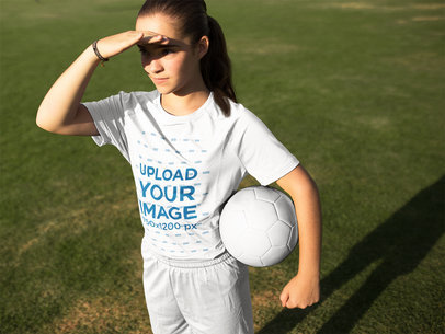Custom Soccer Jerseys - Girl with Ball Looking to the Horizon a16391