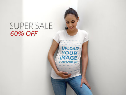 Happy Woman Wearing a Maternity T-Shirt Mockup a16324