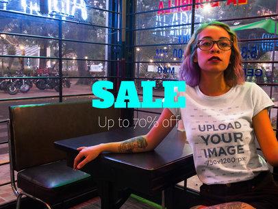 Facebook Ad - Hispanic Trendy Woman Wearing a T-Shirt Inside a Restaurant a16416