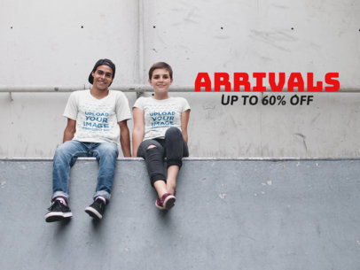 Facebook Ad - Two Friends Wearing T-Shirts While Sitting at a Skate Park a16441