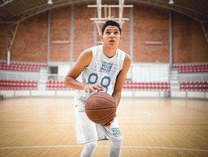 Basketball Jersey Maker - Teen Boy Shooting at the Court a16499