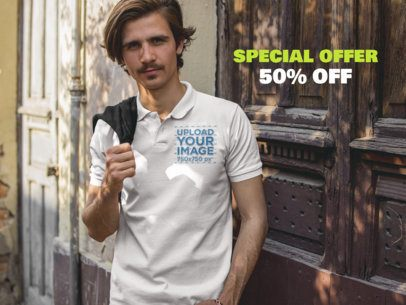 Facebook Ad - White Dude Wearing a Polo Shirt Near a Wooden Door a15377