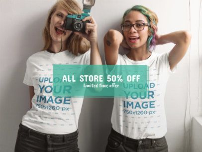 Facebook Ad - Two Girlfriends Wearing T-Shirts While Taking a Photo a16427