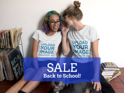 Facebook Ad - Two Girls Wearing Round Neck Tees While Telling a Secret a16423