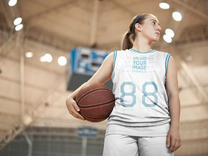 Basketball Jersey Maker - White Girl Holding the Ball at the Court a16511