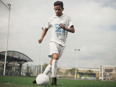 Custom Soccer Jerseys - Teen Playing at the Field a16484