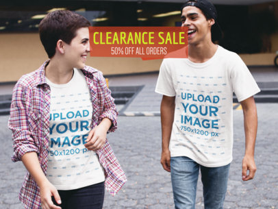 Facebook Ad - Happy Young Couple Wearing Different T-Shirts Mockup a16444