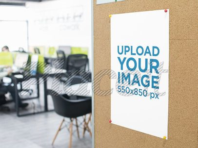 Office Poster Mockup Pinned to a Cork Board a16291