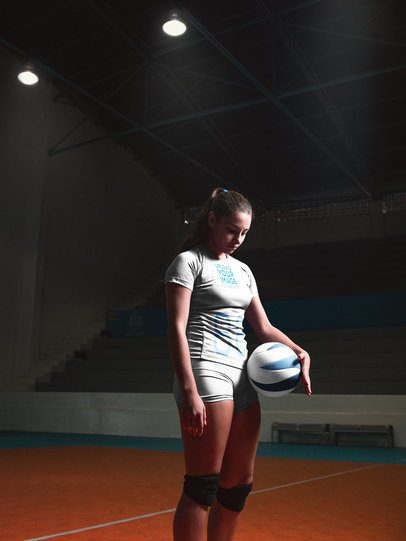 Volleyball Jersey Maker - Girl Standing in the Court After the Game a16536