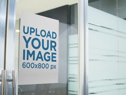 Poster Mockup on a Glass Door a16294