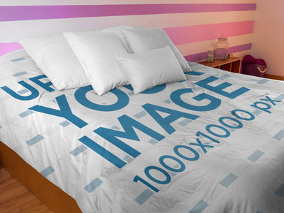 Angled Shot of a Duvet Cover in a Girl Room a16407