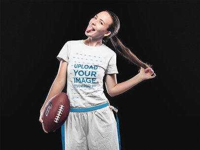 Custom Football Jerseys - Girl Making Faces at the Studio a16594