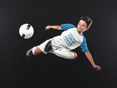 Custom Soccer Jerseys - Boy Doing a Scissor Side Kick a16605