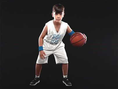 Basketball Jersey Maker - Boy Dribbling Inside a Studio a16633