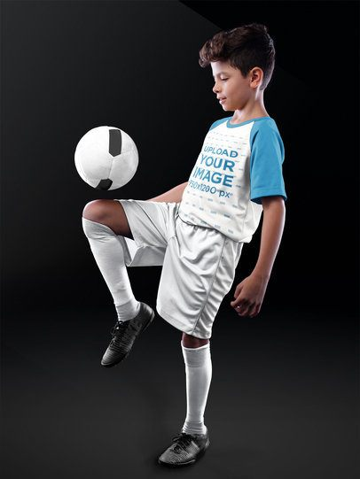 Custom Soccer Jerseys - Boy Playing with the Ball at a Studio a16604
