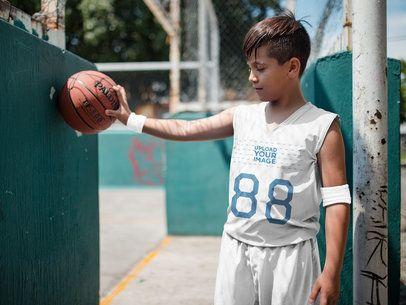Basketball Jersey Maker - Boy Near a Urban Court a16627