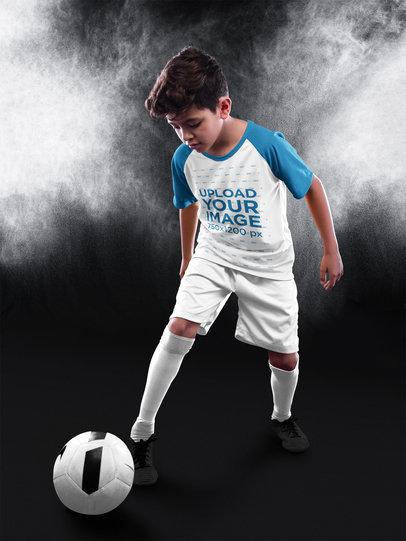 Custom Soccer Jerseys - Kid Dribbling at the Studio a16598