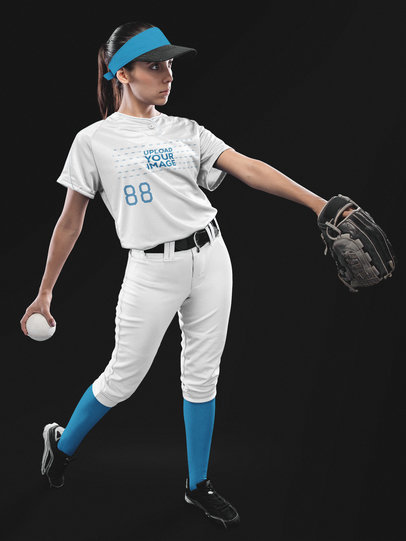 Custom Softball Jerseys - Focused Woman Posing with the Ball a16697