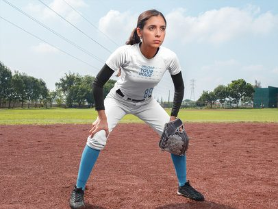 Custom Softball Jerseys - Midfield Girl at the Field a16725