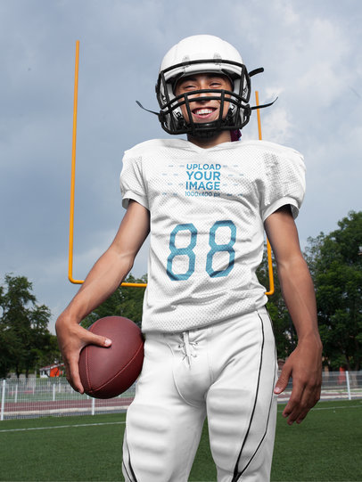 Custom Football Jerseys - Happy Dude with the Ball at the Field a16736