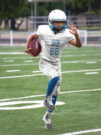 Custom Football Jerseys - Boy Running Through the Field a16737