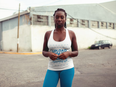 Runner Woman with Dreadlocks Wearing a Tank Top Mockup at an Urban Area a16747
