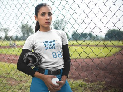 Custom Softball Jerseys - Woman Holding the Ball Outside the Field a16721