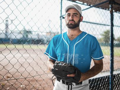 Baseball Uniform Builder - Man Standing Against the Field a16773