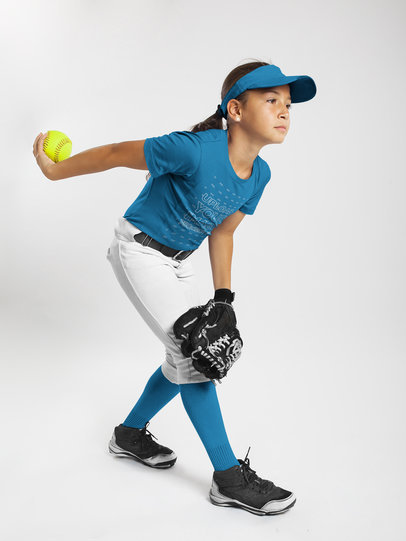 Custom Softball Jerseys - Girl About to Throw the Ball a16809