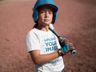 Custom Softball Jerseys - Girl Holding her Bat a16818