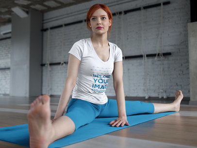 Woman Doing a Yoga Pose While Wearing Custom Sportswear Mockup a16826