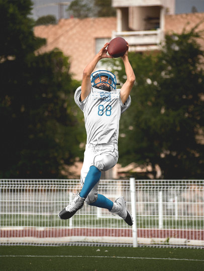 Custom Football Jerseys - Teenager Jumping with the Ball a16738