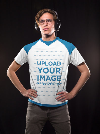 eSports Jersey - Man Standing with Headphones a16892