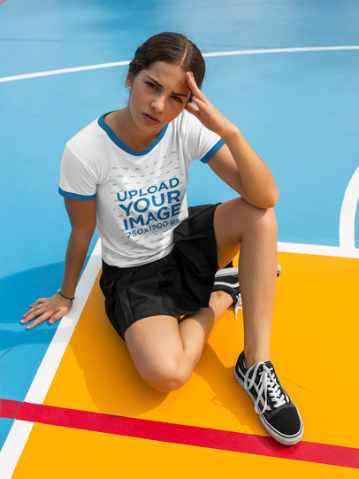 Mockup of a Beautiful Girl Wearing a Ringer T-Shirt Template While Under the Sun a17058