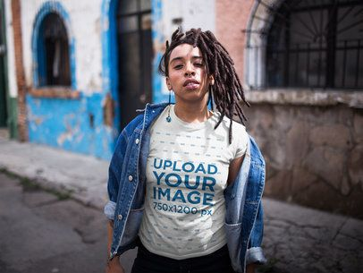 Dreadlocked Girl with an Attitude Wearing a T-Shirt Mockup Outdoors a17141